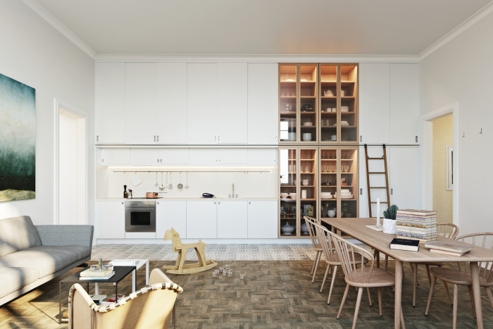 Bright white kitchen with light wood glass cabinets all the way to the ceiling. Very impactful!