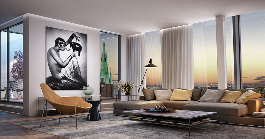Isn't that an incredible view of Stockholms Santa Clara from this living room?!