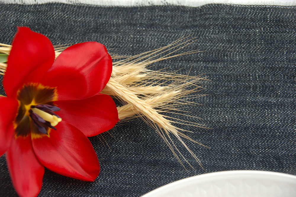Denim and red tulips on my table for Independence Day.