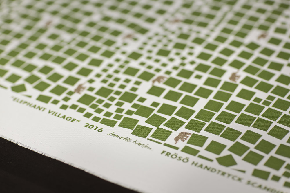 Screen printed pattern Elephant Village from Frösö Handtryck.