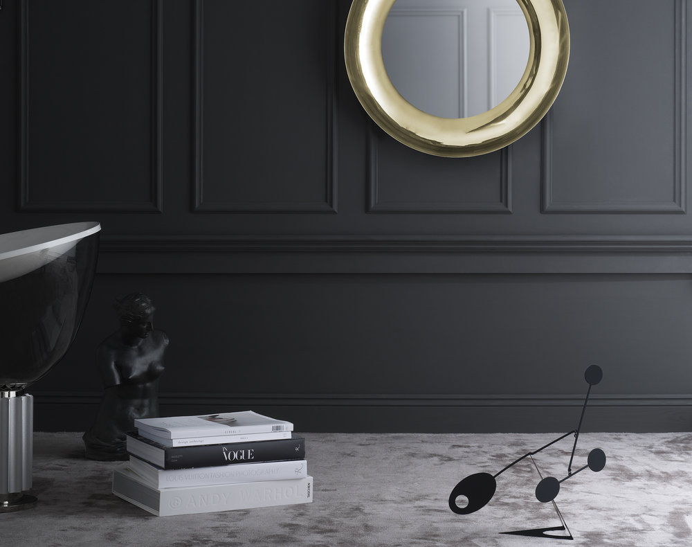 Brera mirror in brass from Skultuna.