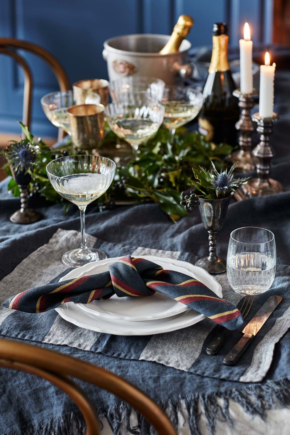 Table setting for fall in denim blue hues.