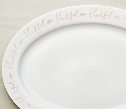 'Thankful' plate from Crate and Barrel