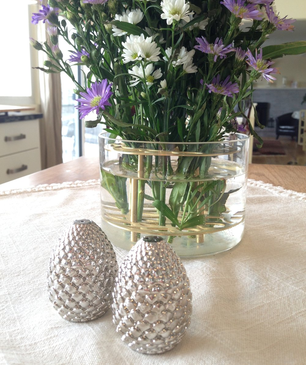 Silver pinecone salt and pepper shakers from West Elm.
