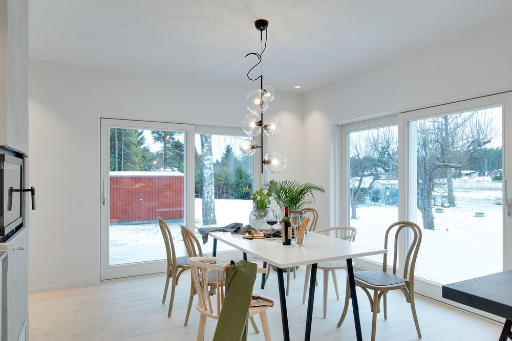 Bright modern dining area.