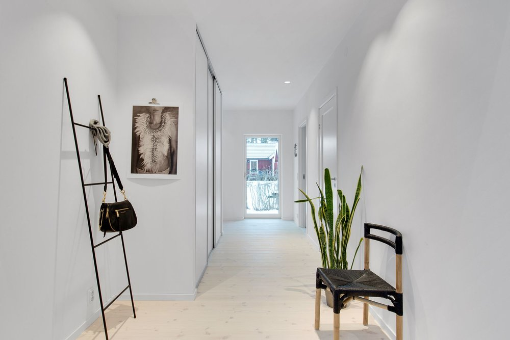 Bright hallway in Scandinavian home.