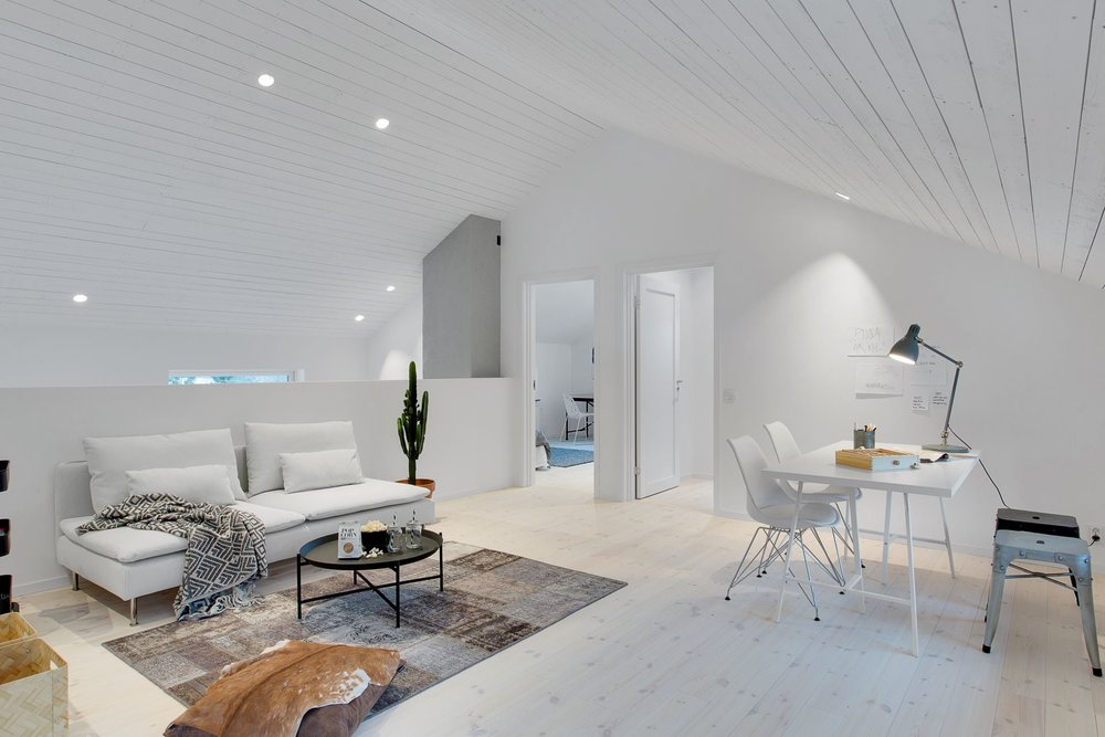 Modern Scandinavian home - loft living room.