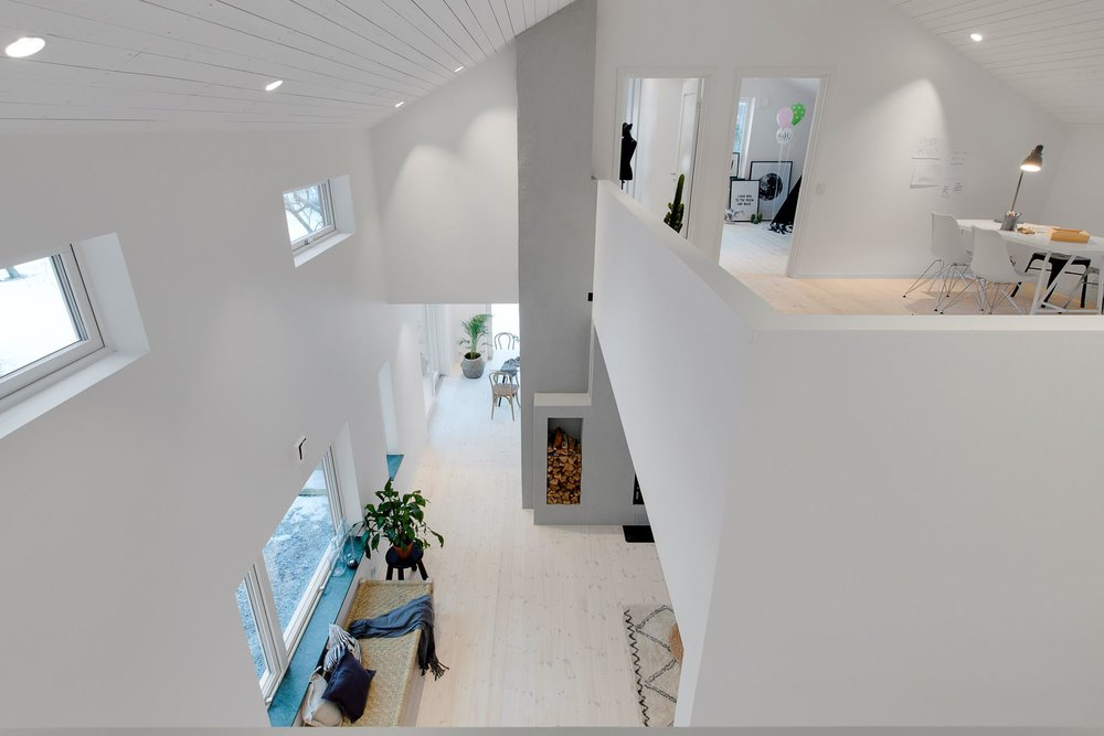 Modern Scandinavian home - indoor balcony.