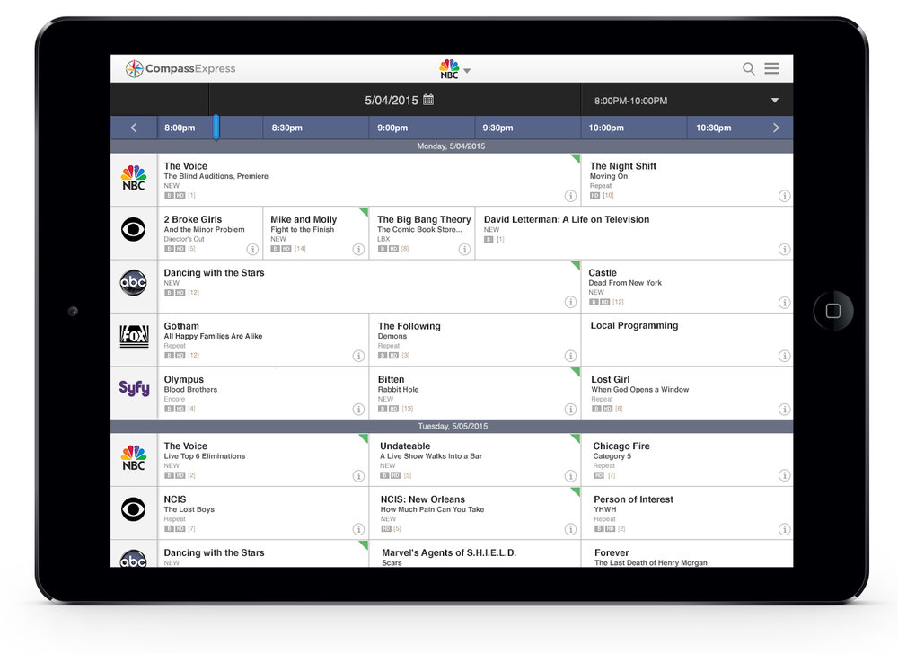Scheduling Tool - Tablet View