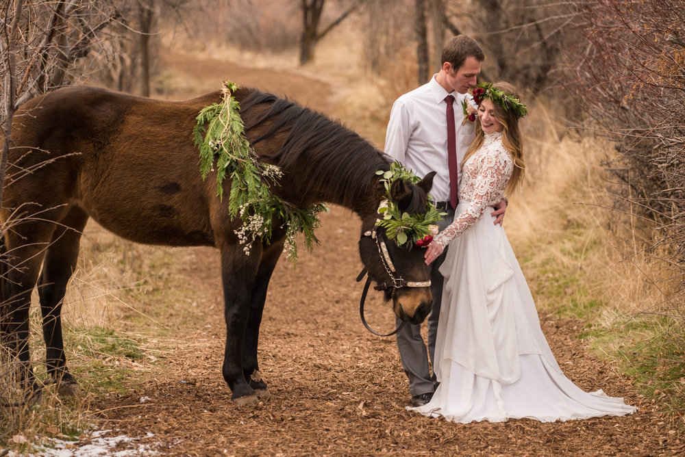 Foliage by Raw Floral. Gown by Janay Marie.