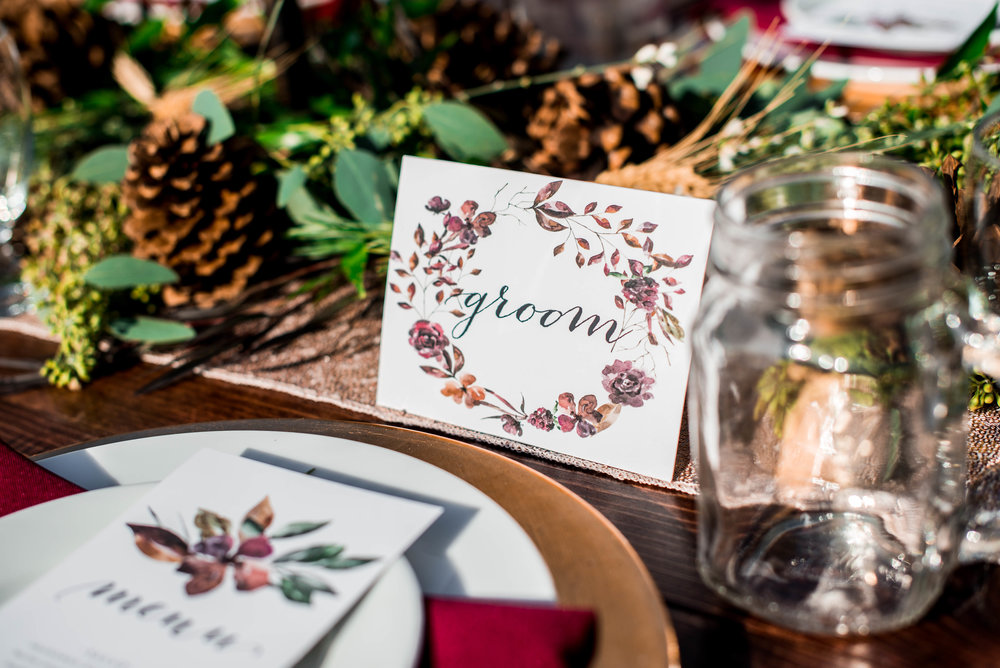 Menu and place card design by Kelsley Wolfley Designs.