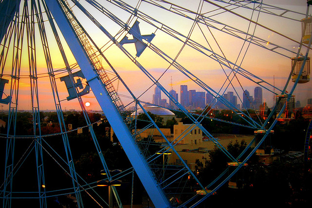 Dallas Skyline thru Texas Star, Dallas, TX, by Stephanie Lopez via Flickr
