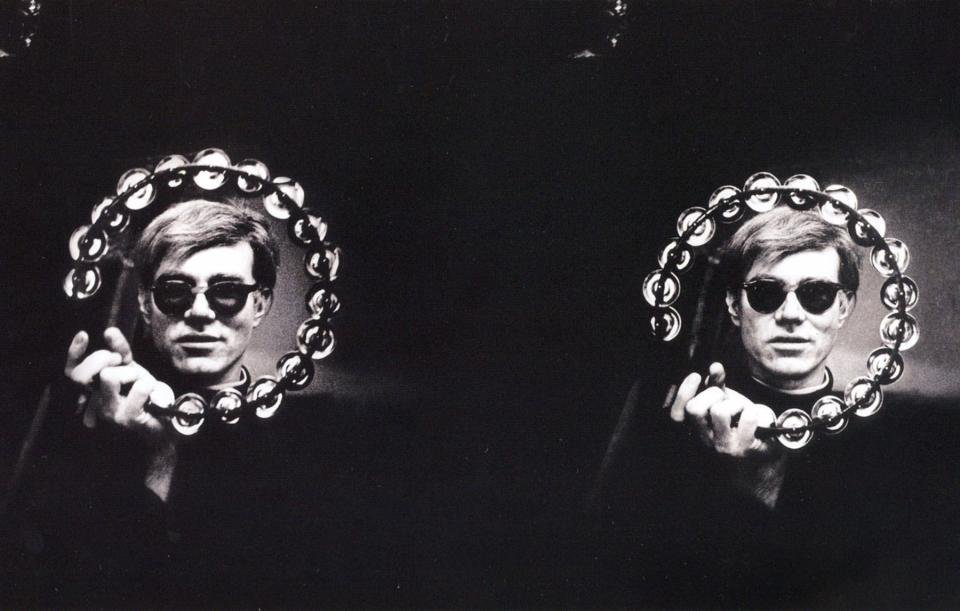Andy Warhol with Tamborine by Nat Finkelstein