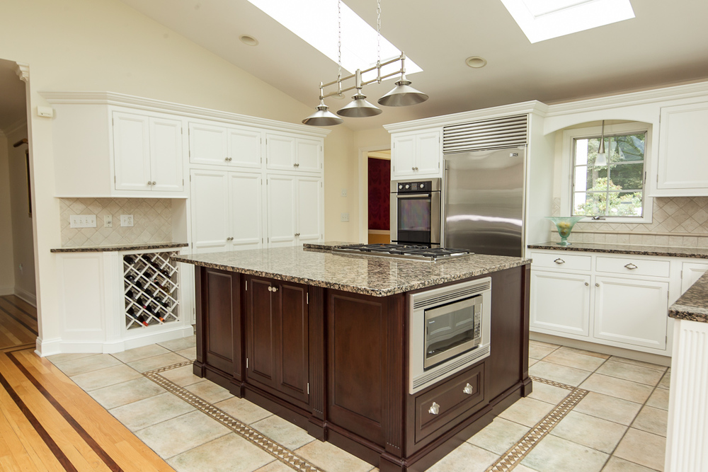 White Cabinets with Cherry Island