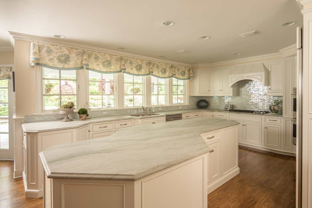 Angled White Kitchen Island