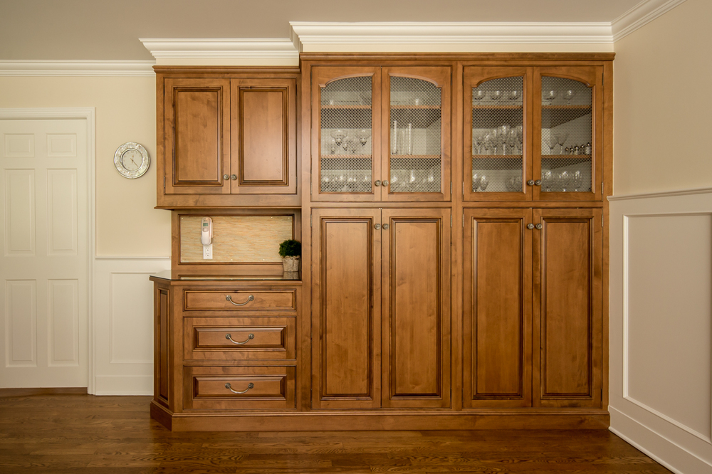 Stained Maple Kitchen Pantry Cabinet