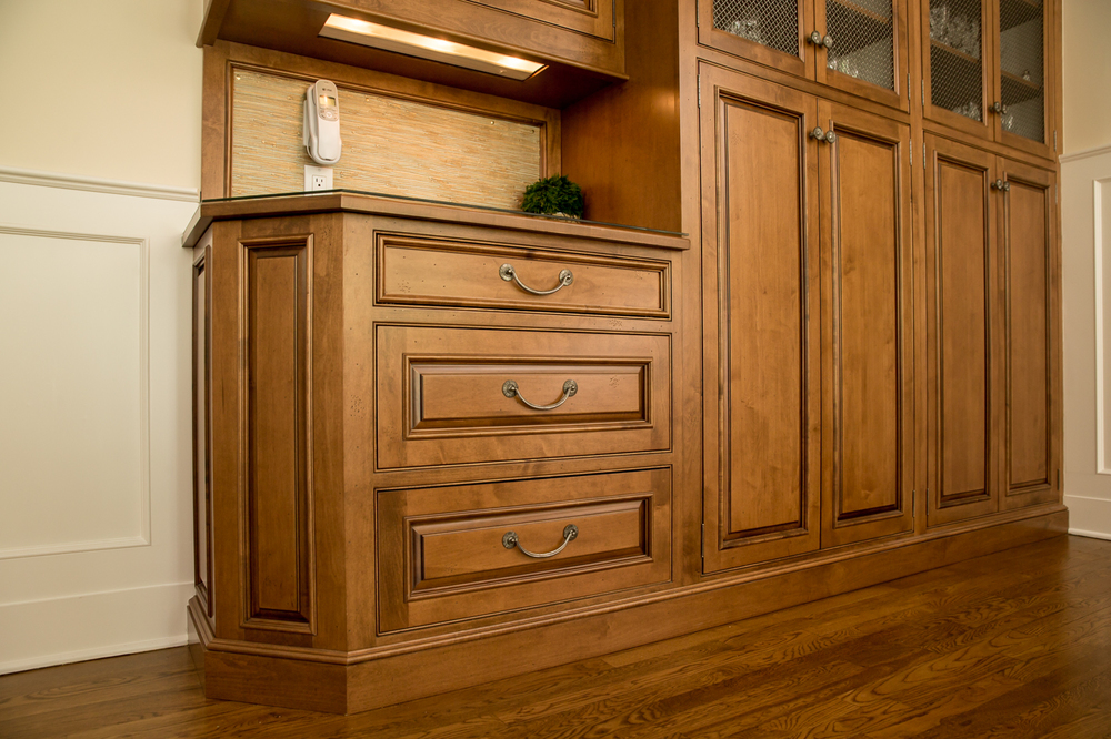 Stained Wood 3 Drawer Kitchen Cabinet