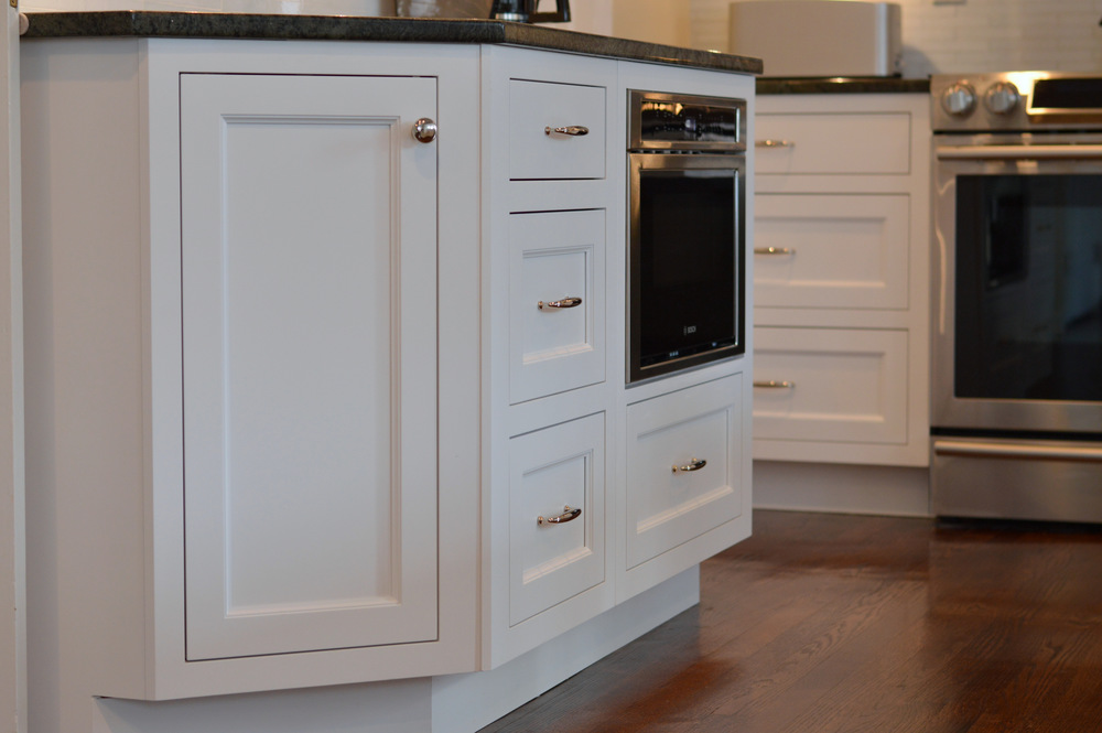 Angled White Kitchen Base Cabinet