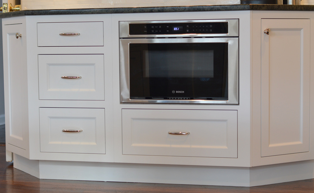 Flush Drawer Microwave White Base Kitchen Cabinet