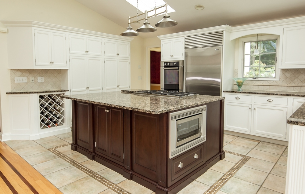 White Custom Kitchen Cabinets & Cherry Island - New Canaan CT | Ackley Cabinet LLC