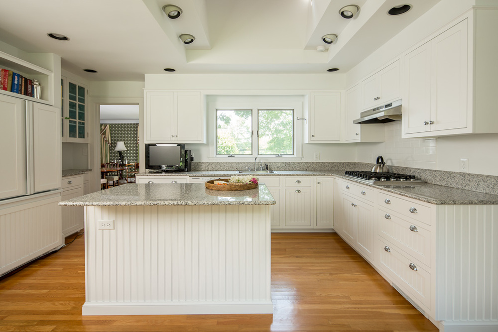 White Beadboard Custom Kitchen Cabinets - Bedford NY | Ackley Cabinet LLC
