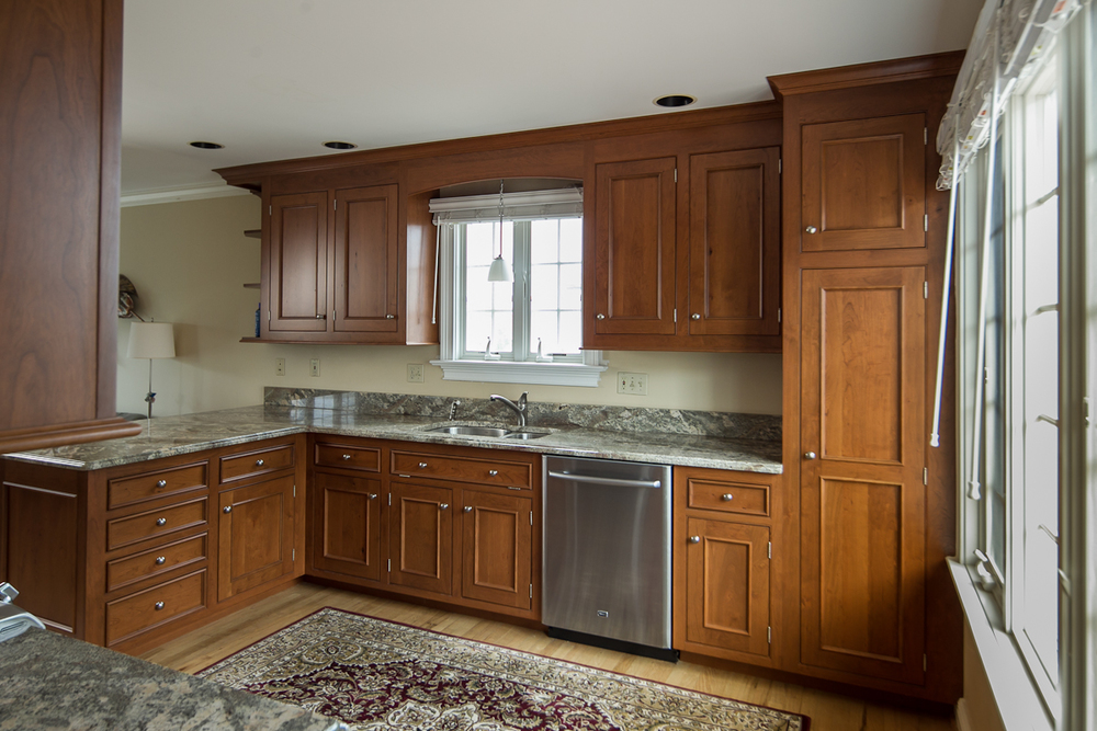 rustic cherry custom cabinets in fairfield, ct — ackley cabinet llc