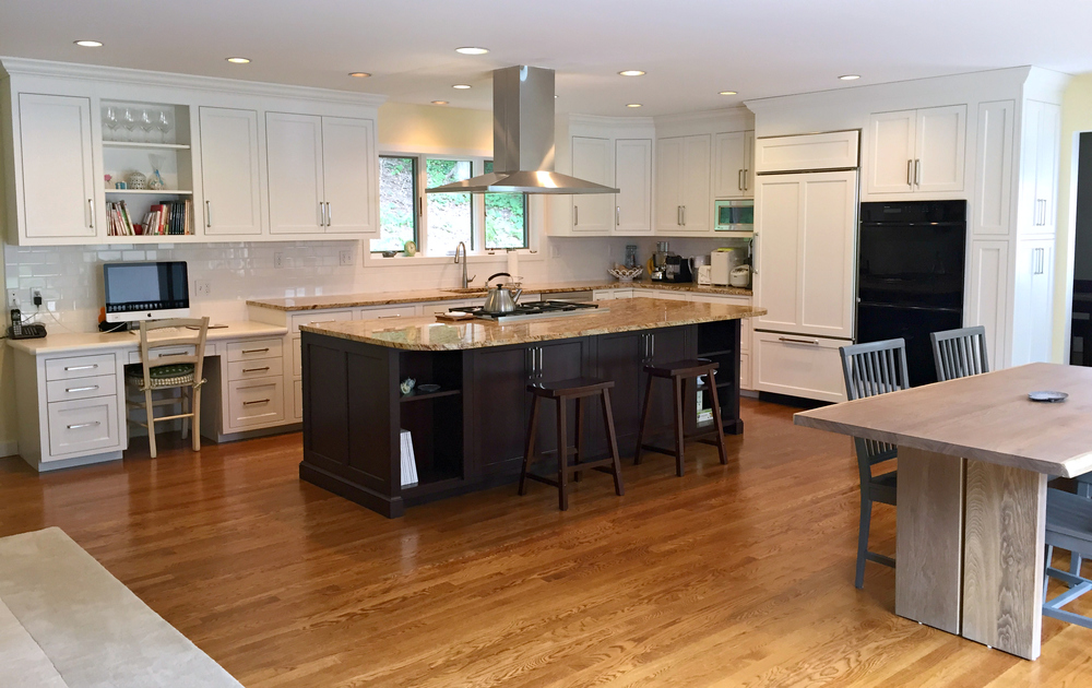 White Inset Cabinets & Expresso Island - Greenwich CT