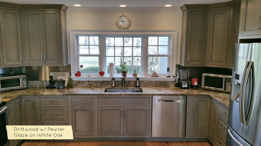 Custom Gray Driftwood kitchen cabinets