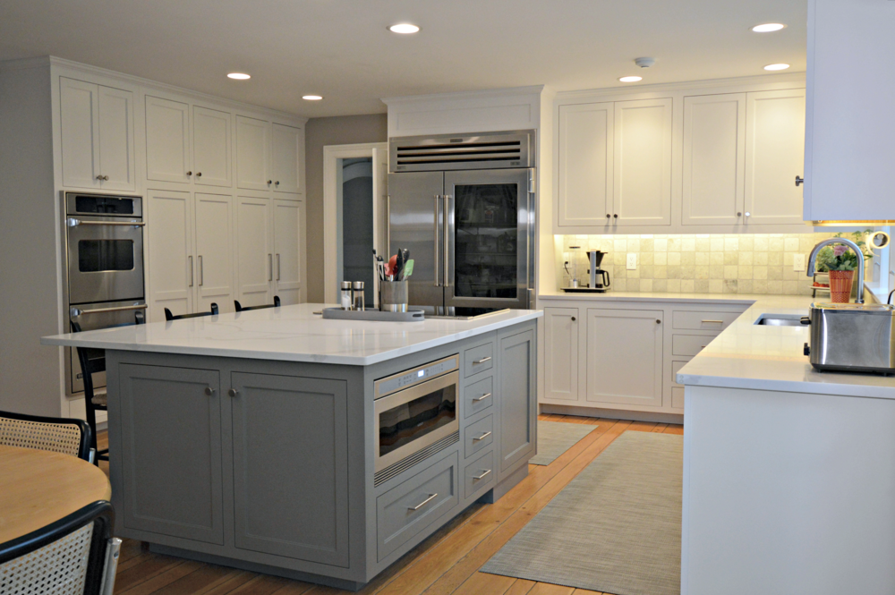 White Inset Cabinets Grey Island
