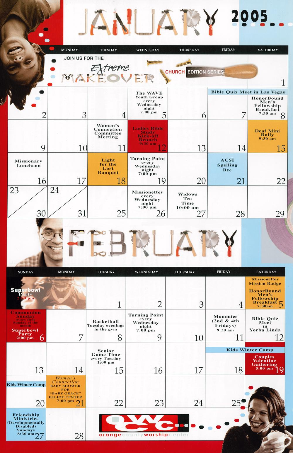 Extreme Makeover bi-monthly newsletter calendar