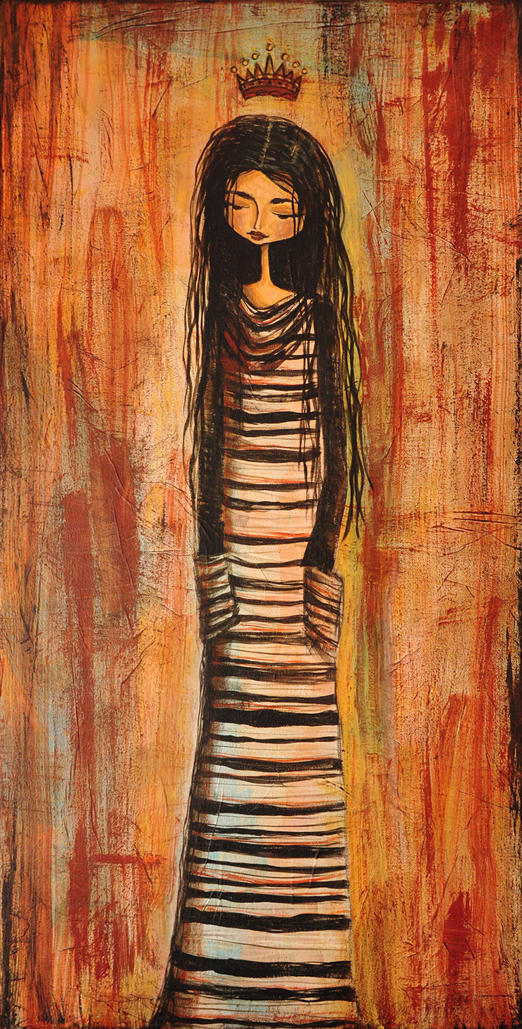 """The King's Daughter""     18"" x 36"" Original Tissue & Acrylic on Canvas     $450.00"