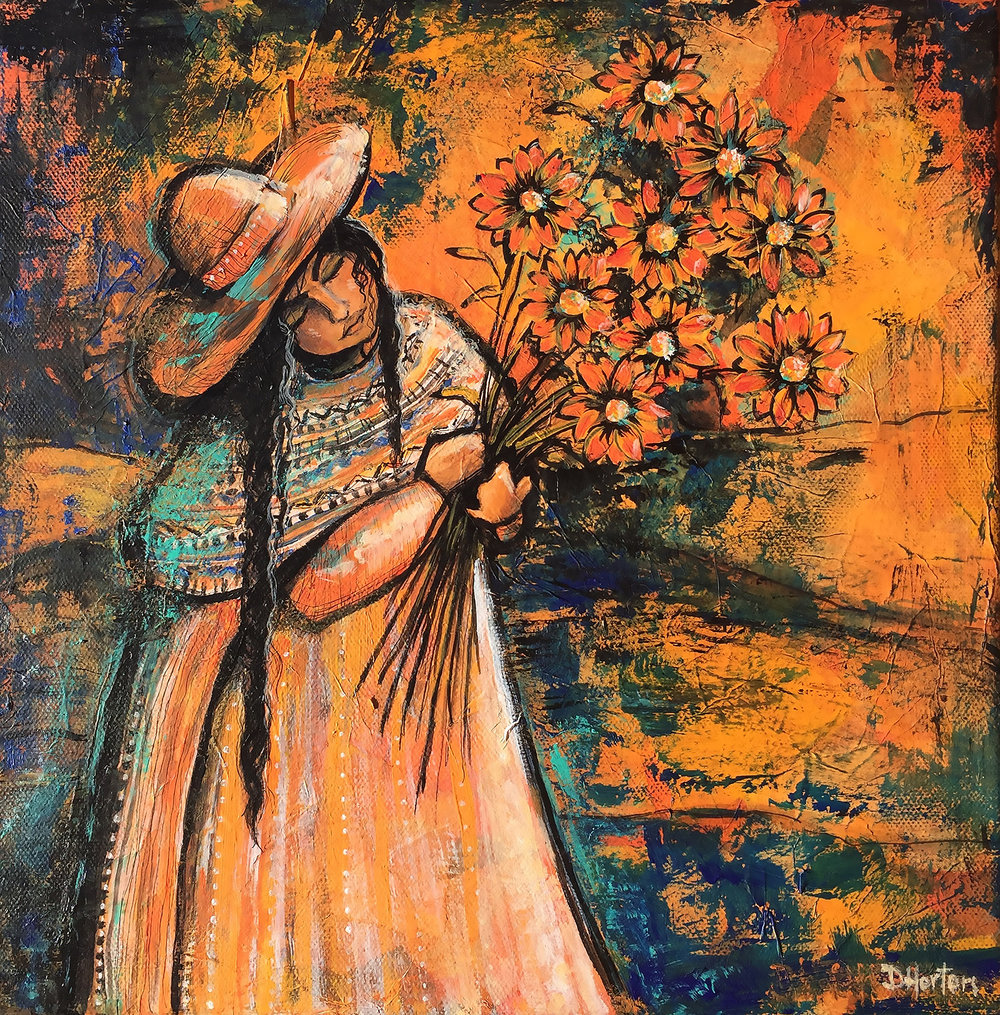 """xoxochitla""    12"" x 12"" Original Tissue & Acrylic on Canvas   $350.00"