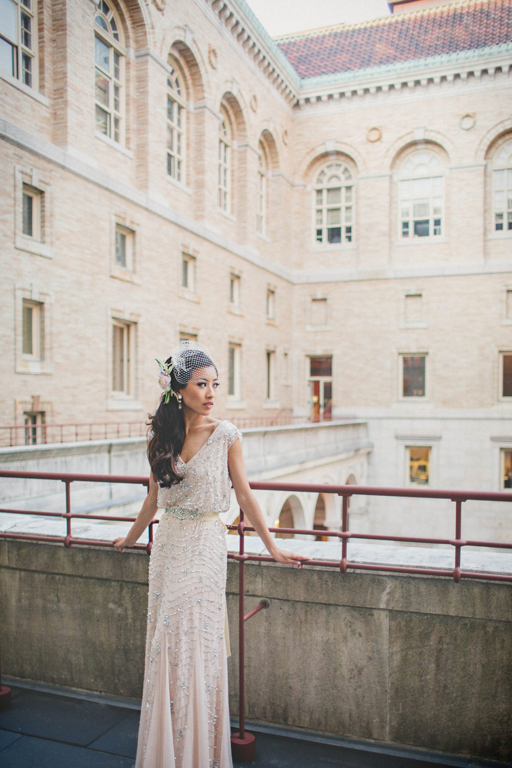 BRIDES MAGAZINE: BLOGGER EXTRAPETITE'S PUBLIC LIBRARY WEDDING WITH KATCH STUDIOS PHOTOGRAPHY