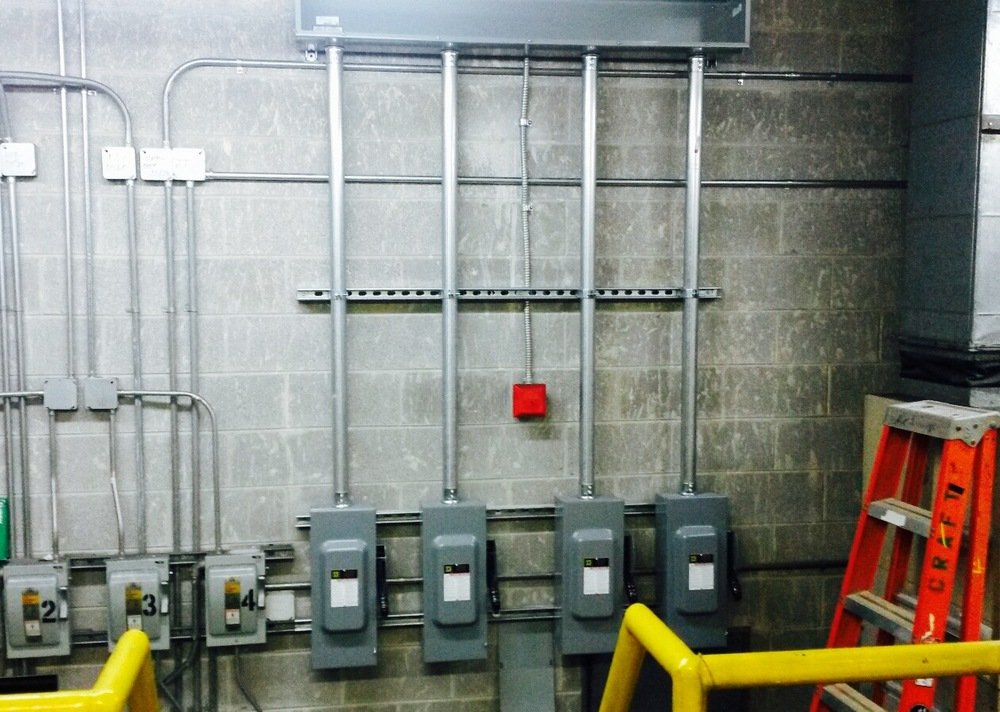A lot of work goes into upgrading an elevator at a high rise building. Power upgrades including sump pumps, transfer switch modifications, fire alarm upgrades, shunt trips, new cab lighting, new pit lighting, panels, disconnects, lighting.....