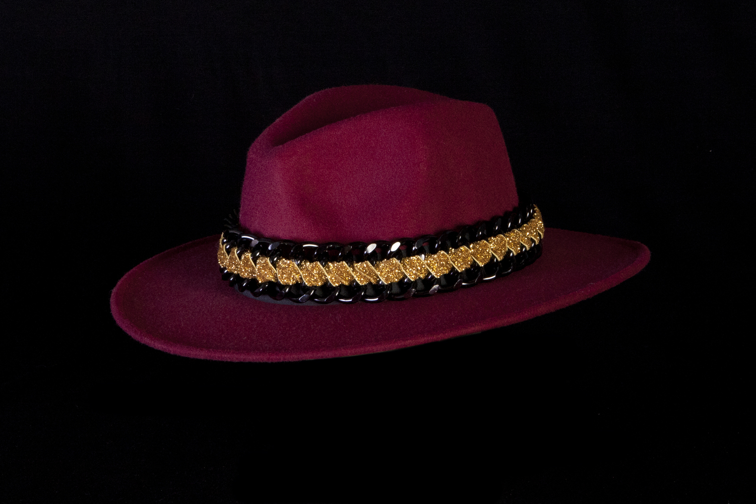3d182d67d5b Gold weave on Black on the Burgundy Hat — Hats — Tambonita
