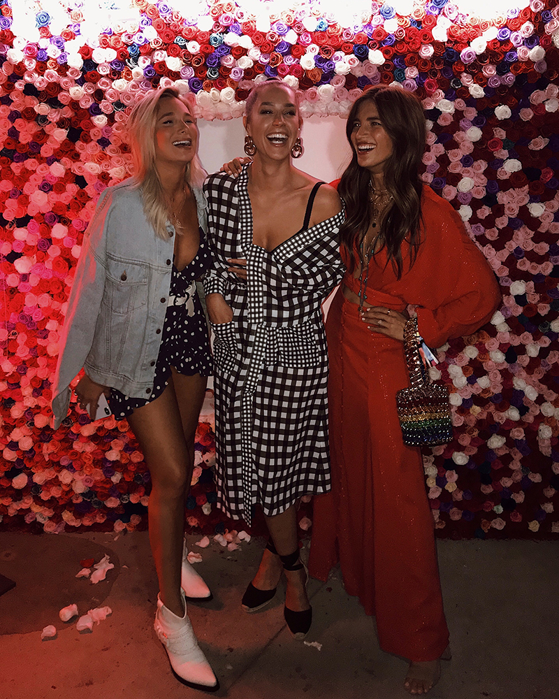 ROCKY BARNES @ REVOLVE 2018  - REVOLVE PARTY - Organized by a leading online retailer close to the hearts of Millennials - has attracted droves of instagrammers since it launched in 2015.ROCKY BARNES wearing our SHIMMER RAINBOW BUCKET BAG!