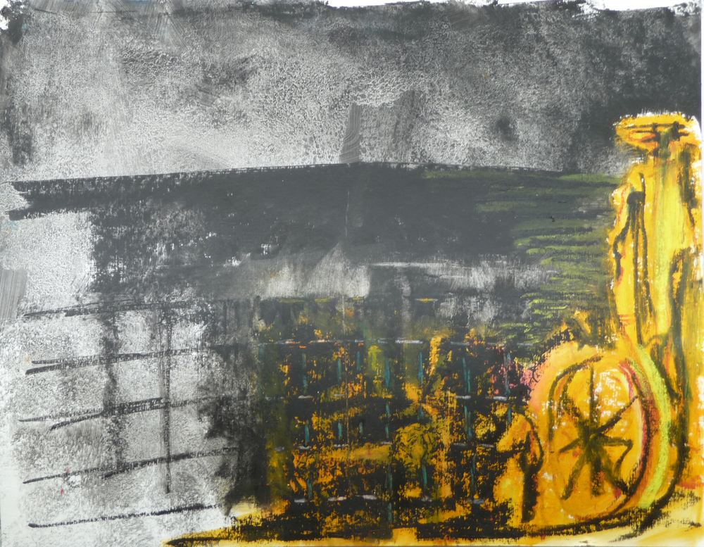 La Quardrilla 2, Olie baar op papier, 50 x64 cm
