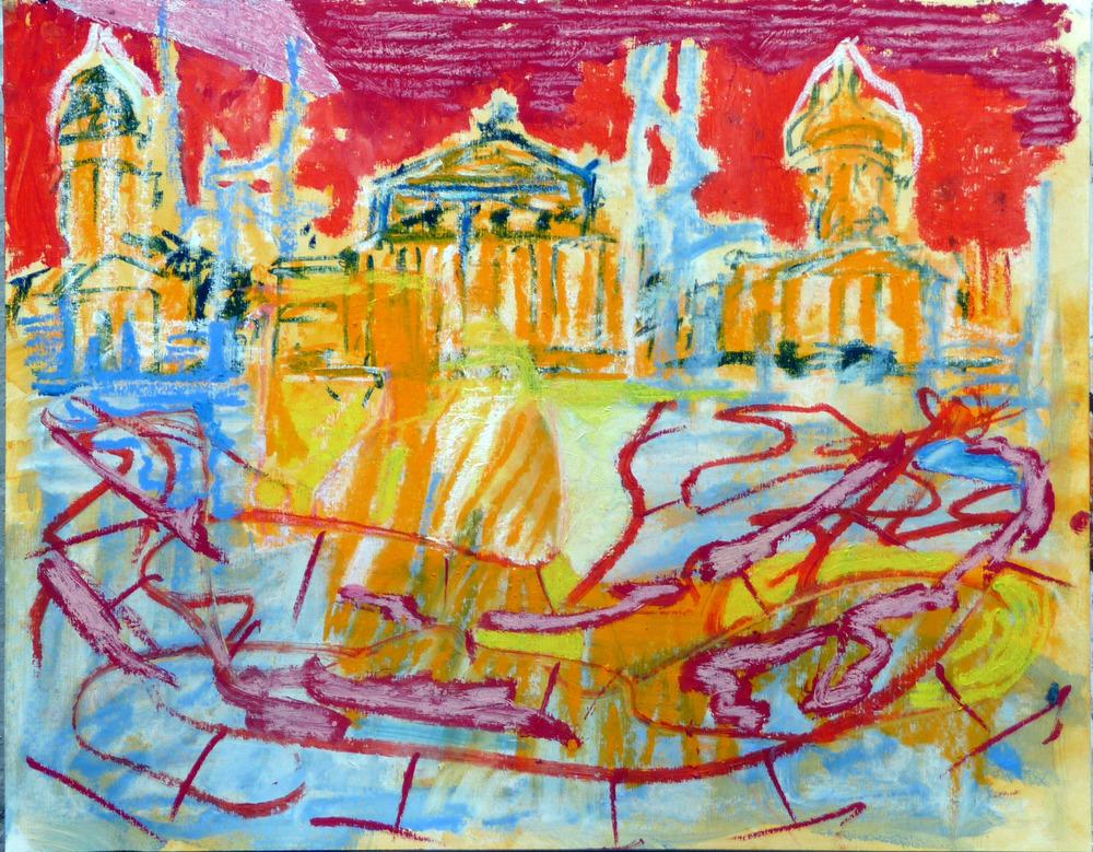 Gendarmenmarkt 3, Olie baar op papier, 50 x 64 cm