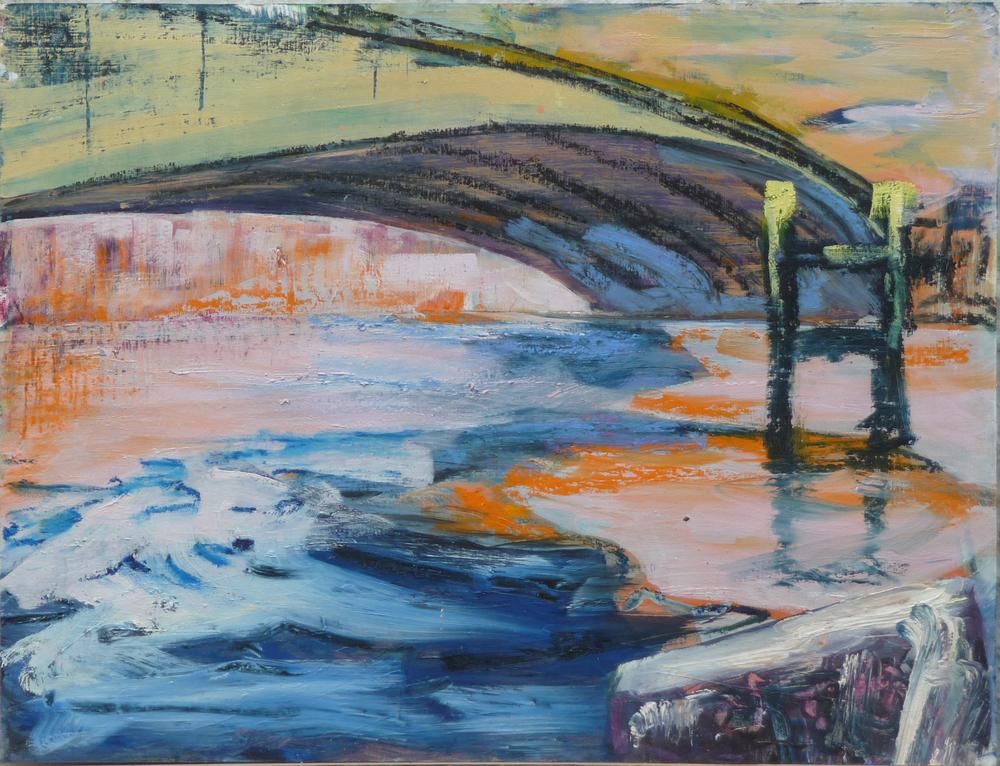 Winter, olie baar op papier, 50 x 64 cm