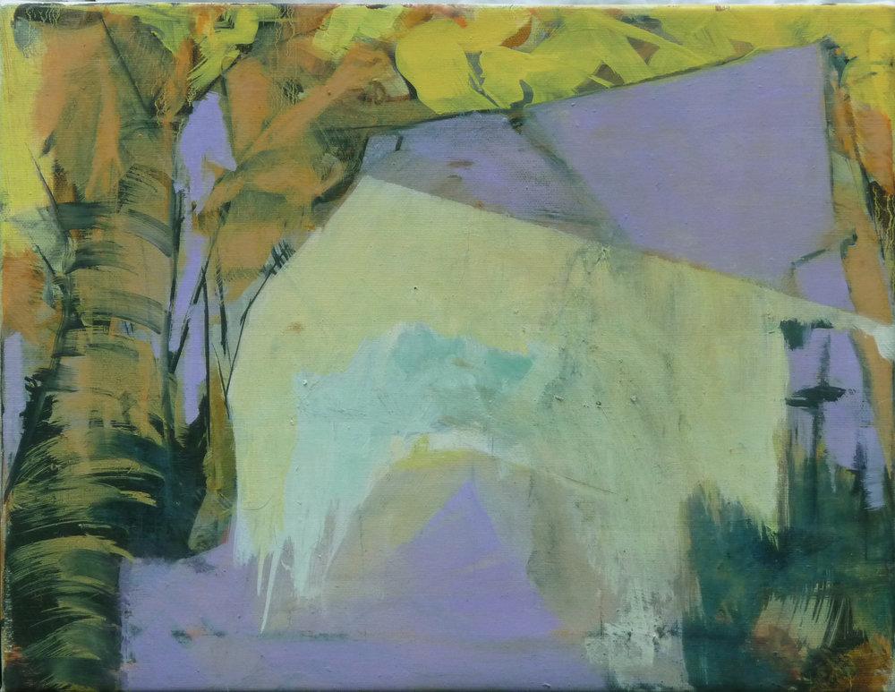 Boom aan muur, oil on canvas, 40 x 50 cm