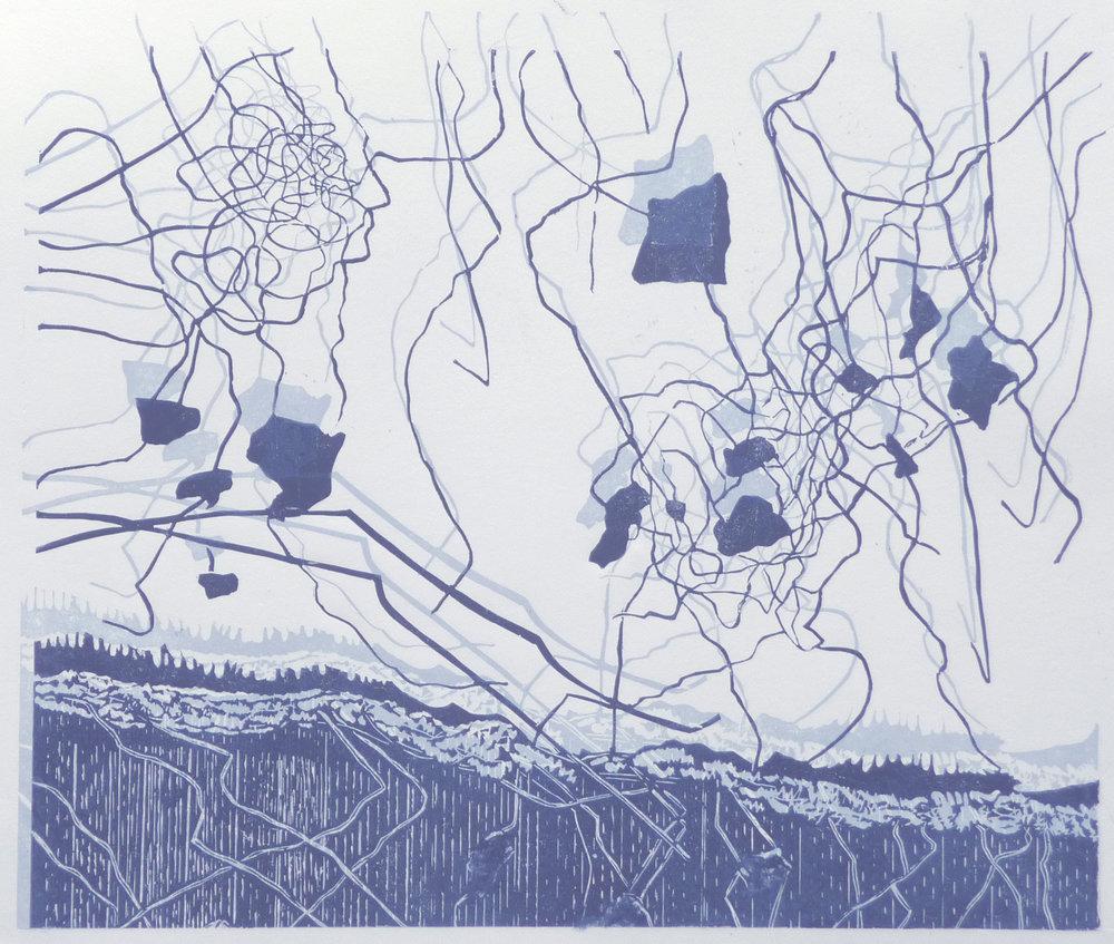 Drahtgemenge, woodcut, 50,5 x 60,5 cm, 2018