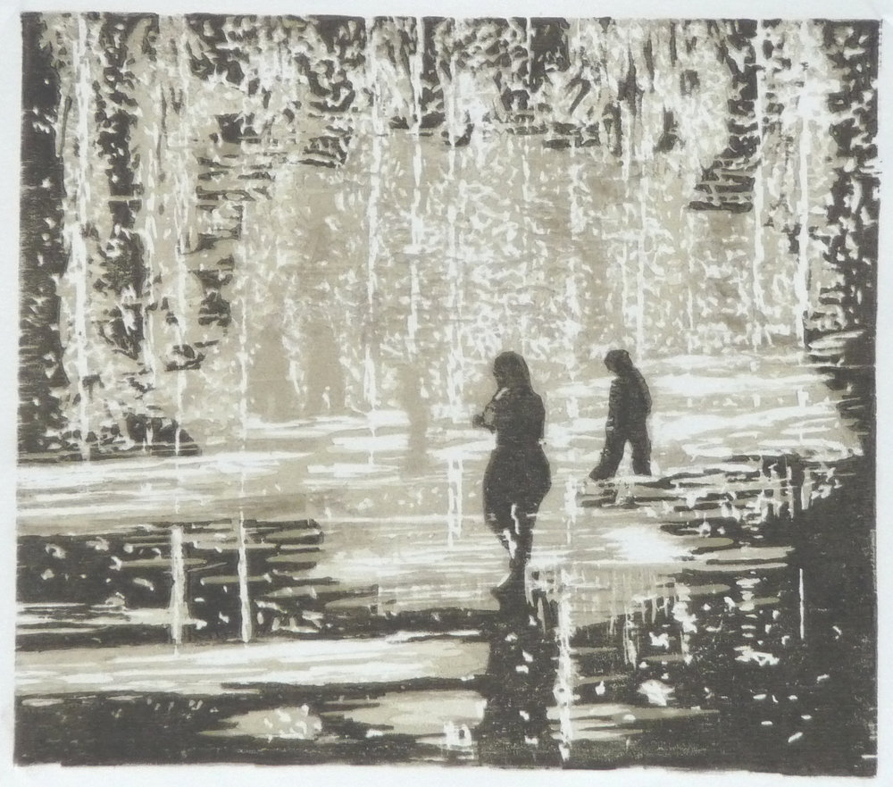 Dancing in the rain, woodcut, 21 x 24,5 cm, 2016