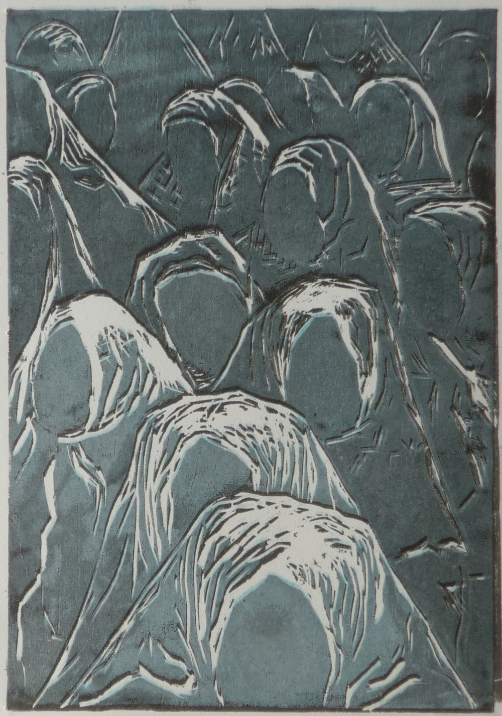 Groep, woodcut, 17,2 x 15 cm, 2016