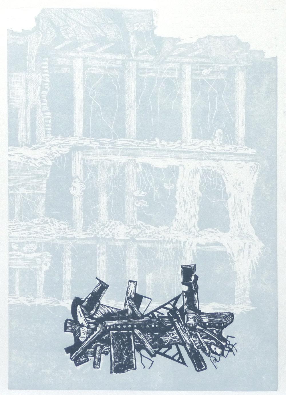 Facade ii, woodcut, 45 x 64 cm, 2018