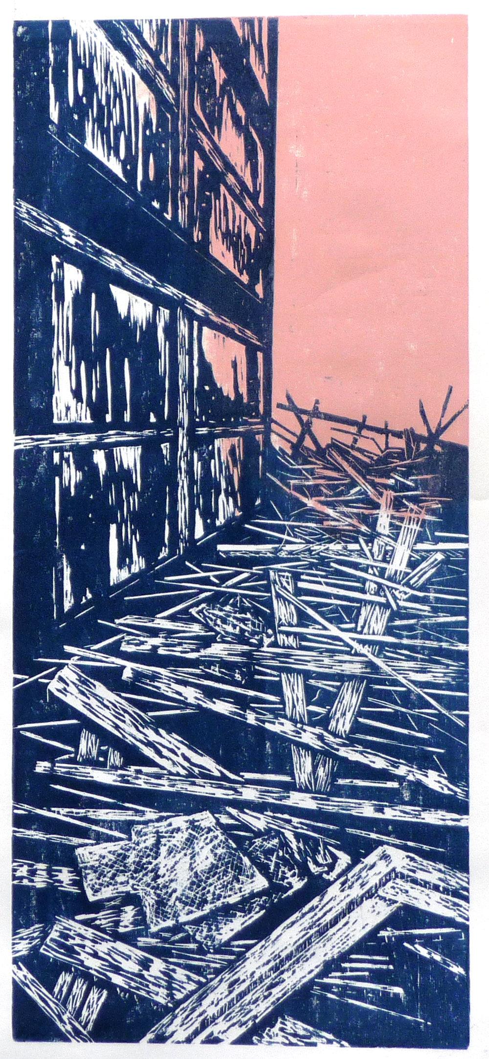 Bretter, woodcut, 29 x 67 cm, 2018
