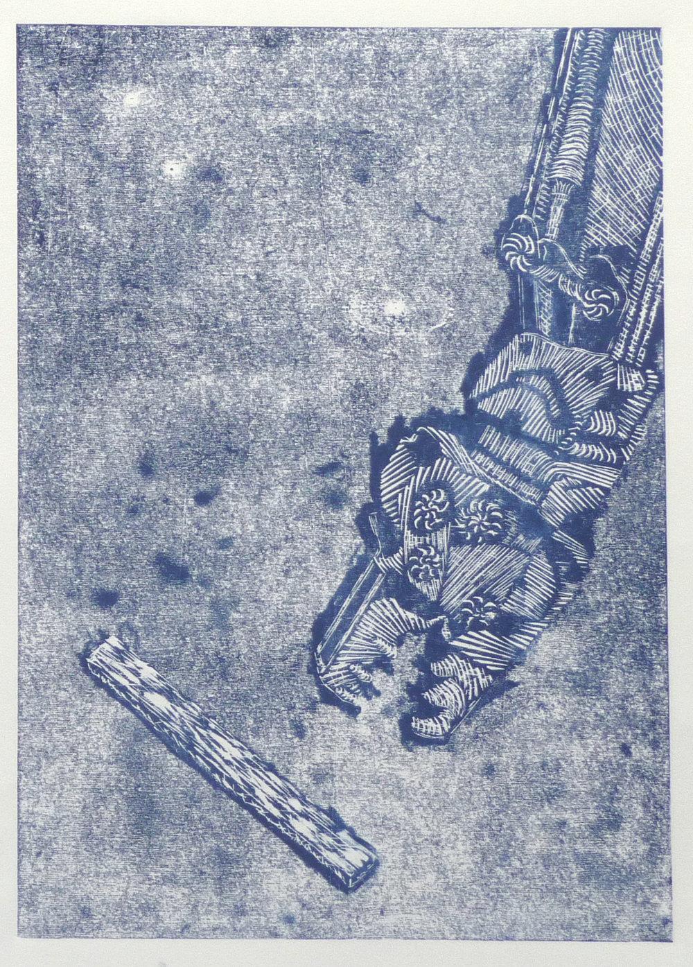 Lekker hapje, woodcut, 38,5 x 57 cm, 2018