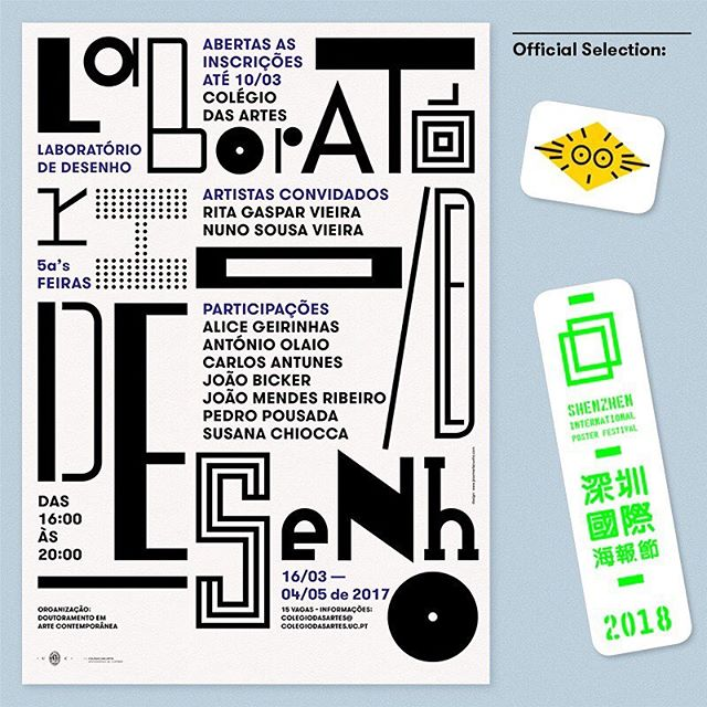 """🎉 Very happy to have my #poster """"Drawing Laboratory"""" (""""Laboratório de Desenho"""") selected by the Moscow Global Biennale of Graphic Design Golden Bee 2018 & the�Shenzhen International Poster Festival 2018 ➳ design by #josemariacunha"""