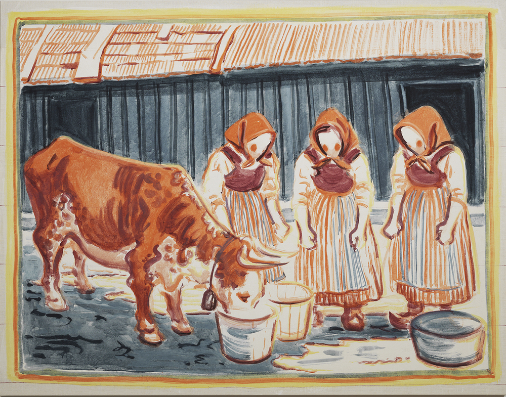 Three Women and a Cow, 2013 — Mushroom pigment made from blood red webcaps, chalk, chrome yellow, indigo, and red lead bound in egg on hand woven linen, 106 x 137 cm