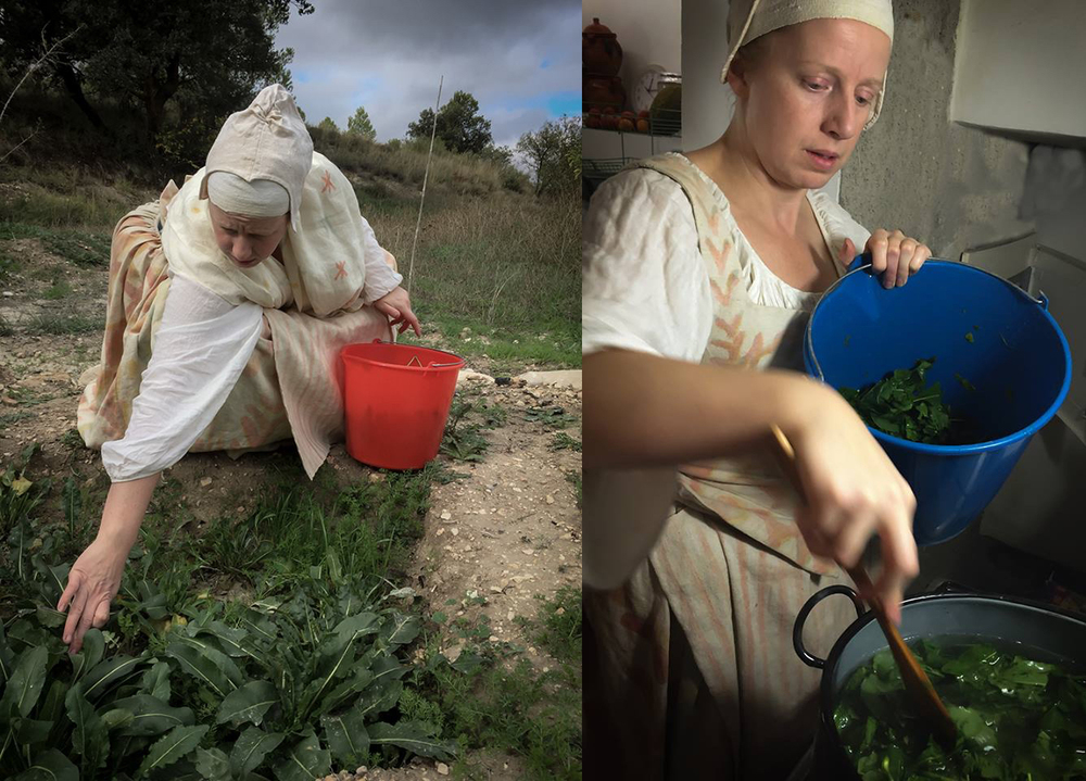 Harvesting the first crop of woad grown at Joya: Arte + Ecología; steeping the leaves in hot water