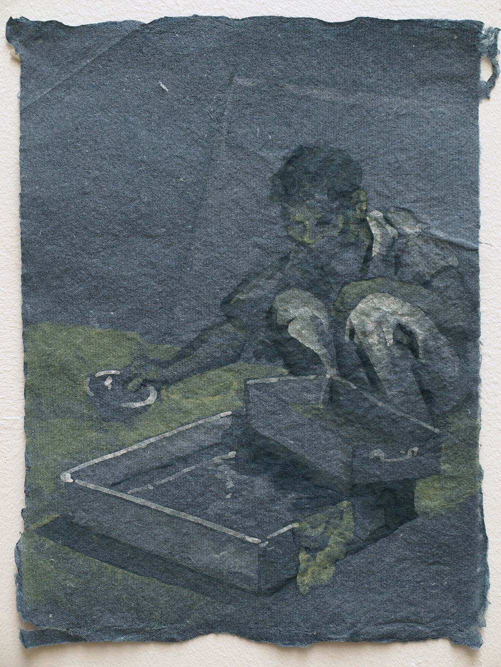 He Xiu Jun making paper, 2011